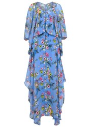 Pinko Blue Floral Print Georgette Maxi Dress