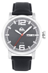 Men's Quiksilver 'The Sentinel' Leather Strap Watch 44Mm