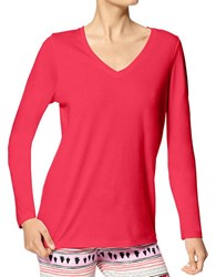 Hue Plus Solid Long Sleeve Tee Red