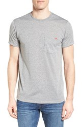 Patagonia Men's Flying Fish Responsibili Tee T Shirt Heather Grey Fire Red