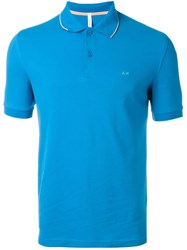 Sun 68 Trim Detail 'Small Righe' Polo Shirt Blue