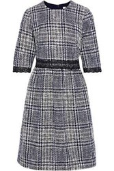 Mikael Aghal Woman Lace Trimmed Checked Tweed Dress Navy