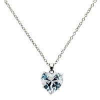 Finesse Glass Crystal Heart Pendant Necklace Silver