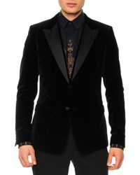 Dolce And Gabbana Velvet Evening Jacket With Satin Lapels Navy