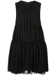 Vera Wang Pleated Shirt Dress Black