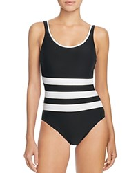 Gottex Regatta Maillot One Piece Swimsuit Black Gold White