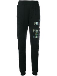 Philipp Plein Distressed Track Pants Black
