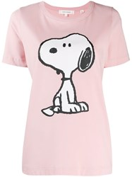 Chinti And Parker Snoopy Print T Shirt Pink