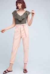 Anthropologie Paperbag Waisted Joggers Pink