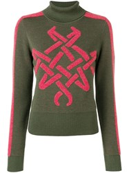 Mr And Mrs Italy Embroidered Roll Neck Jumper Green