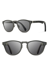 Shwood 'Francis' 49Mm Titanium And Wood Sunglasses Gunmetal Dark Walnut