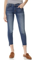 7 For All Mankind Ankle Skinny Jeans With Step Hem Distressed Authentic Light 3
