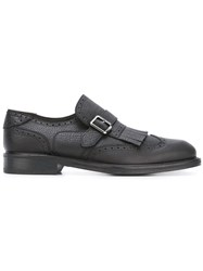 Salvatore Ferragamo Fringe Trim Brogue Monk Shoes Black