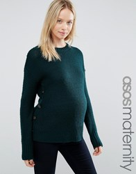 Asos Maternity Jumper In Wool Mix With Button Detail Forest Green