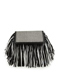 Sam Edelman Fifi Leather Fringe Clutch Bag Black White