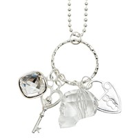 Isabella Tropea Crystal Charms Necklace Sterling Silver Plated
