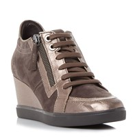 Geox D Eleni Lace Up Sporty Wedge Trainers Taupe