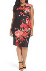 Eci Plus Size Women's Floral Print Sheath Dress Black Red