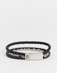 Steve Madden Chain And Leather Bracelet In Black