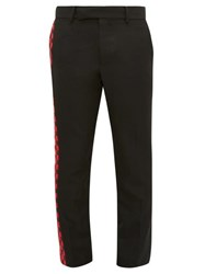 Haider Ackermann Chequered Panel Cotton Blend Twill Trousers Black Red
