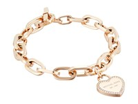 Michael Kors Heritage Heart Charm Toggle Rose Gold Clear Charms Bracelet