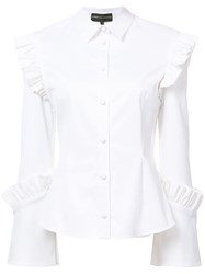 Christian Siriano Ruffle Trim Shirt Women Acrylic Cotton Spandex Elastane 12 White
