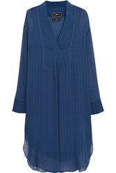 By Malene Birger Austa Satin Trimmed Plisse Chiffon Shirt Dress Blue