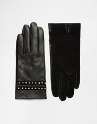 French Connection Studded Leather Gloves Black