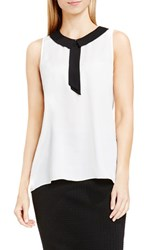 Vince Camuto Women's Contrast Collar Sleeveless Blouse New Ivory