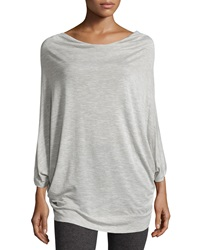 Pink Lotus Dolman Sleeve Draped Neck Top Heather Gray