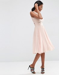 Asos Sheer And Solid Pleated Midi Dress Nude