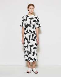 Marni Leaf Print Tee Dress Black And White