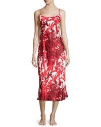 Natori Ottoman Floral Print Long Satin Gown Cranberry Red