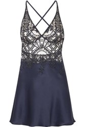 I.D. Sarrieri Embroidered Tulle And Silk Blend Satin Chemise Navy
