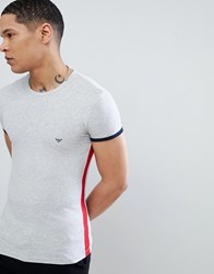 Emporio Armani Muscle Fit Side Stripe Back Logo T Shirt In Grey