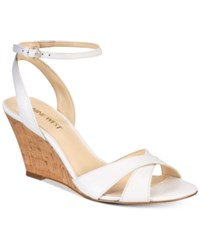 Nine West Kami Two Piece Wedge Sandals Women's Shoes Off White Leather