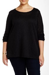 Eyeshadow Long Sleeve Knit Pullover Plus Size Black