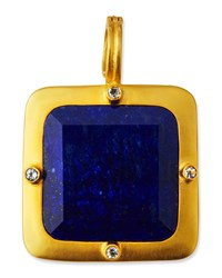 Dina Mackney Square Lapis And Topaz Pendant Blue