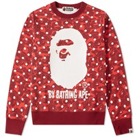 A Bathing Ape Abc Dot Crew Sweat Red