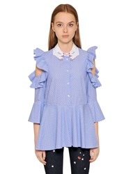 Vivetta Stripe And Polka Dot Cotton Poplin Shirt