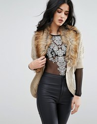 Lipsy Cardigan With Faux Fur Collar Beige
