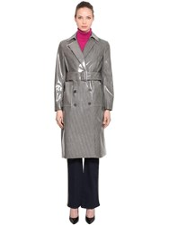 Calvin Klein Coated Check Wool Blend Trench Coat Grey