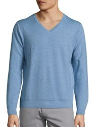 Saks Fifth Avenue Solid V Neck Sweater Blue