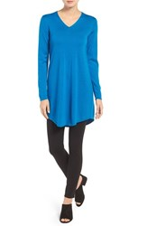Eileen Fisher Women's Lightweight Merino Jersey V Neck Tunic Crystal Blue