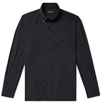Tom Ford Slim Fit Button Down Collar Cotton And Cashmere Blend Shirt Midnight Blue