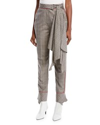 Johanna Ortiz Aesthetic Grunge Scarf Belt Skinny Plaid Suiting Trousers Gray
