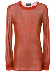Lost And Found Rooms Sheer Jumper Viscose Polyamide Cotton Red