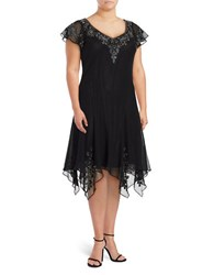 J Kara Plus V Neck Flutter Sleeve Embellished Dress Black