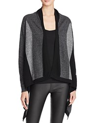Bloomingdale's C By Draped Color Blocked Cashmere Cardigan Black Grey Combo