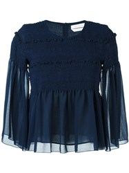 See By Chloe Smocked Sheer Blouse Blue